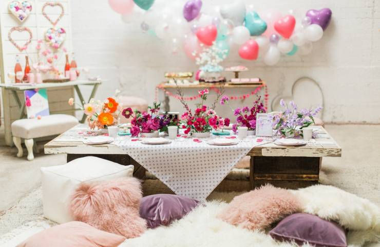 valentine's day, brunch, pink decor, styled shoot